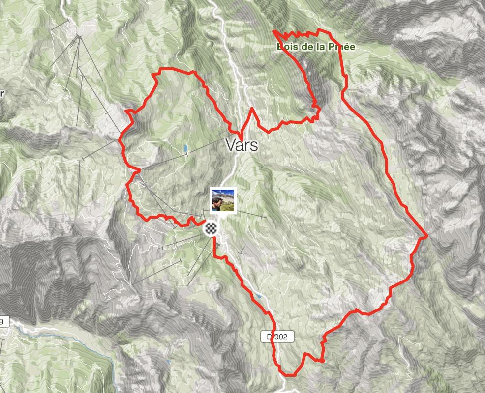 Parcours Vars Mountain trail strava